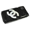 Chanel bling crystal for Samsung i9000 case - black