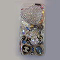 Swarovski crystal cases Bling Heart Chanel diamond cover for iPhone 5 - White