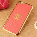 Unique Chanel Metal Flower Leather Cases Luxury Hard Back Covers Skin for iPhone 6 Plus - Orange