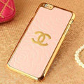 Unique Chanel Metal Flower Leather Cases Luxury Hard Back Covers Skin for iPhone 6 Plus - Pink