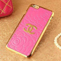 Unique Chanel Metal Flower Leather Cases Luxury Hard Back Covers Skin for iPhone 6 Plus - Rose
