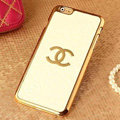 Unique Chanel Metal Flower Leather Cases Luxury Hard Back Covers Skin for iPhone 6 Plus - White