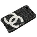 Bling Chanel crystal case for iPhone 4G - black