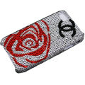Bling Chanel crystal case for iPhone 4G - red