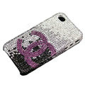 Bling purple Chanel crystal case for iPhone 4G