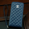 Chanel Genuine leather Case Flip Holster Cover for iPhone 4G 4S - Dark Blue