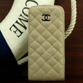 Chanel Genuine leather Case Flip Holster Cover for iPhone 5 - Beige