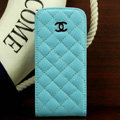 Chanel Genuine leather Case Flip Holster Cover for iPhone 5 - Blue