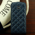 Chanel Genuine leather Case Flip Holster Cover for iPhone 5 - Dark Blue