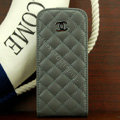 Chanel Genuine leather Case Flip Holster Cover for iPhone 5 - Gray