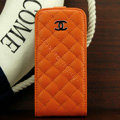 Chanel Genuine leather Case Flip Holster Cover for iPhone 5 - Orange