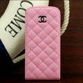 Chanel Genuine leather Case Flip Holster Cover for iPhone 5 - Pink