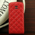 Chanel Genuine leather Case Flip Holster Cover for iPhone 5 - Red