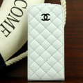 Chanel Genuine leather Case Flip Holster Cover for iPhone 5 - White