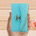 Chanel Handbag leather Cases Wallet Holster Cover for iPhone 4G 4S - Blue