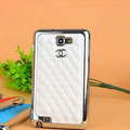 Chanel Hard Cover leather Cases Holster Skin for Samsung Galaxy Note i9220 N7000 i717 - White