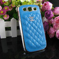 Chanel Hard Cover leather Cases Holster Skin for Samsung Galaxy SIII S3 I9300 - Blue