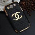 Chanel Hard Cover leather Cases Skin for Samsung Galaxy SIII S3 I9300 - Black