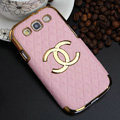 Chanel Hard Cover leather Cases Skin for Samsung Galaxy SIII S3 I9300 - Pink
