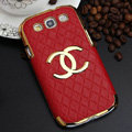 Chanel Hard Cover leather Cases Skin for Samsung Galaxy SIII S3 I9300 - Red