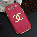 Chanel Hard Cover leather Cases Skin for Samsung Galaxy SIII S3 I9300 - Rose