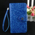 Chanel Rose pattern leather Case folder flip Holster Cover for Samsung Galaxy SIII S3 I9300 - Blue