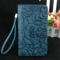 Chanel Rose pattern leather Case folder flip Holster Cover for Samsung Galaxy SIII S3 I9300 - Dark blue