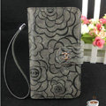 Chanel Rose pattern leather Case folder flip Holster Cover for Samsung Galaxy SIII S3 I9300 - Gray