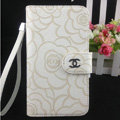 Chanel Rose pattern leather Case folder flip Holster Cover for Samsung Galaxy SIII S3 I9300 - White