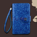 Chanel Rose pattern leather Case folder flip Holster Cover for Samsung N7100 GALAXY Note2 - Blue