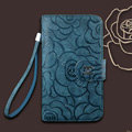 Chanel Rose pattern leather Case folder flip Holster Cover for Samsung N7100 GALAXY Note2 - Dark Blue