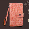 Chanel Rose pattern leather Case folder flip Holster Cover for Samsung N7100 GALAXY Note2 - Orange