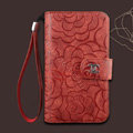 Chanel Rose pattern leather Case folder flip Holster Cover for Samsung N7100 GALAXY Note2 - Red