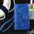 Chanel Rose pattern leather Case folder flip Holster Cover for iPhone 5 - Blue