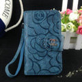 Chanel Rose pattern leather Case folder flip Holster Cover for iPhone 5 - Dark blue