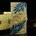 Chanel bling crystal book leather Case flip Holster Cover for iPhone 5 - Blue+White