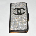 Chanel bling folder holster cover book flip leather case for iPhone 4G 4S - Black+Black