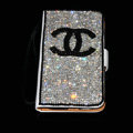 Chanel bling folder holster cover book flip leather case for iPhone 4G 4S - White+Black