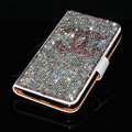 Chanel bling folder holster cover book flip leather case for iPhone 4G 4S - White+Pink