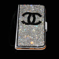 Chanel bling folder holster cover book flip leather case for iPhone 5 - White+Black