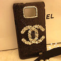 Chanel diamond Crystal Case Bling Cover for Samsung Galasy S2 SII i9100 - Black