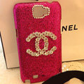 Chanel diamond Crystal Case Bling Cover for Samsung Galaxy Note i9220 N7000 i717 - Rose