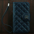 Chanel folder Genuine leather Case Book Flip Holster Cover for iPhone 5 - Dark Blue