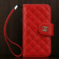 Chanel folder Genuine leather Case Book Flip Holster Cover for iPhone 5 - Red