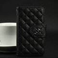 Chanel folder leather Cases Book Flip Holster Cover for iPhone 4G 4S - Black