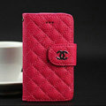 Chanel folder leather Cases Book Flip Holster Cover for iPhone 4G 4S - Rose