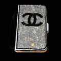 Luxury bling holster cover chanel diamond leather case for Samsung Galaxy Note i9220 N7000 i717 - White+Black