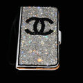 Luxury bling holster cover chanel diamond leather case for Samsung Galaxy SIII S3 I9300 - White+Black