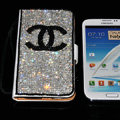 Luxury bling holster cover chanel diamond leather case for Samsung N7100 GALAXY Note2 - White+Black