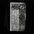One chanel bling folder holster cover book flip leather case for iPhone 4G 4S - White+Black